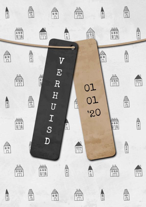 Verhuiskaarten - Verhuiskaart met labels en huisjes patroon
