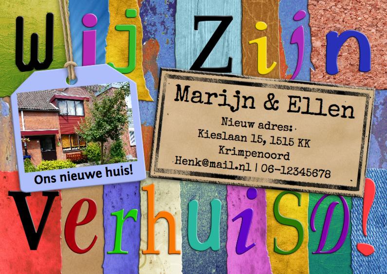 Verhuiskaarten - Verhuiskaart met letters en foto op kleurvlakjes