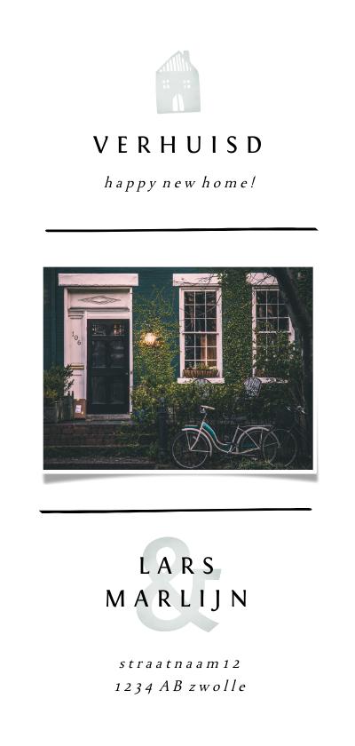 Verhuiskaarten - Verhuiskaart met lijnen, foto en lichtgroene accenten