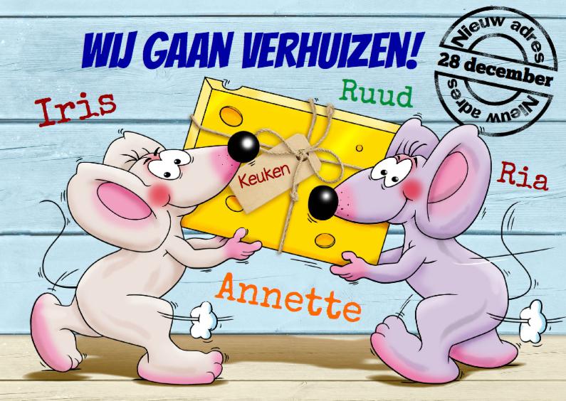 Verhuiskaarten - Verhuiskaart met muizen en kaas