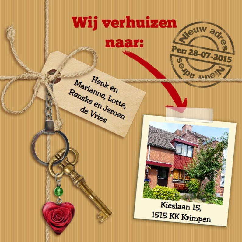 Verhuiskaarten - Verhuiskaart met touw, labels, sleutel en eigen foto