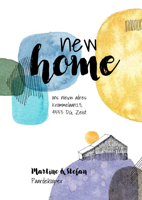 Verhuiskaarten - Verhuiskaart met verfvlekken en huis