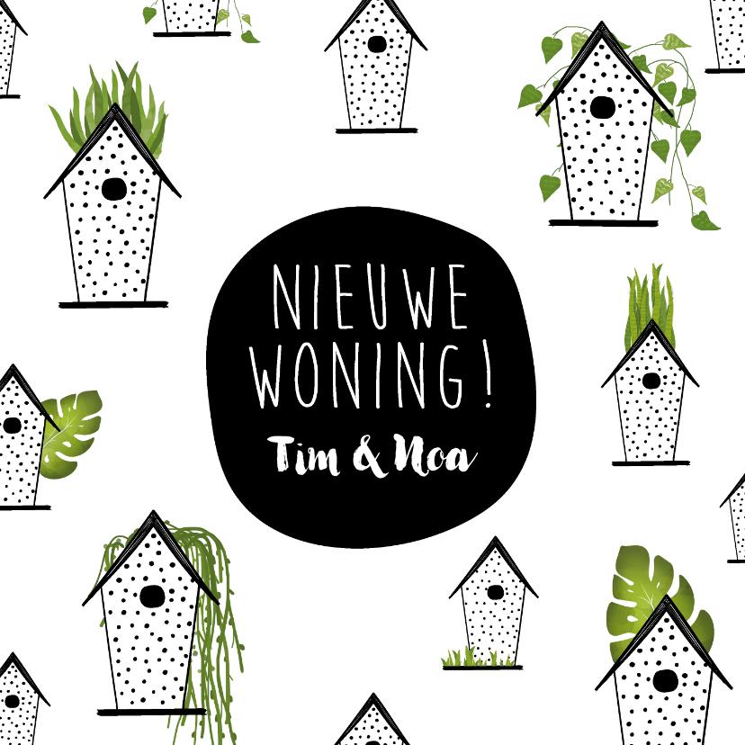 Verhuiskaarten - Verhuiskaart met vogelhuisjes en groene planten