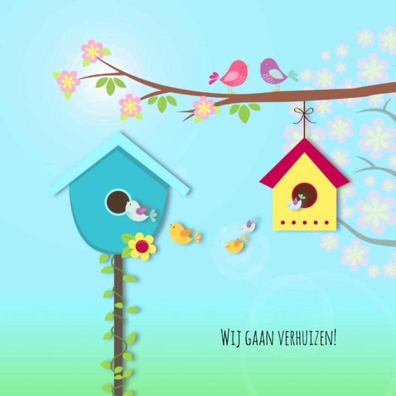 Verhuiskaarten - Verhuiskaart met vogelhuisjes