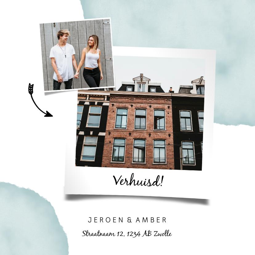 Verhuiskaarten - Verhuiskaart met waterverf, foto's en pijlen
