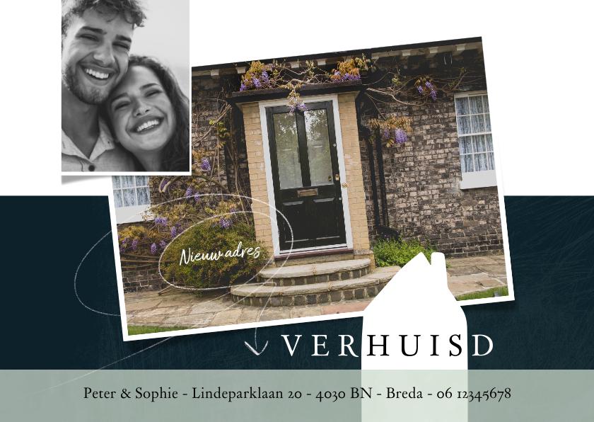 Verhuiskaarten - Verhuiskaart modern, met grote foto en wit huisje