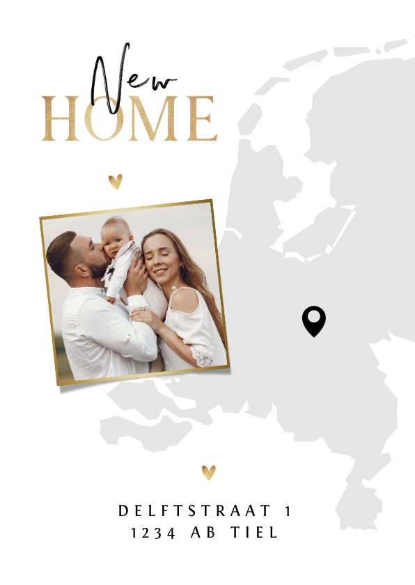 Verhuiskaarten - Verhuiskaart Nederland kaart new home goud hartjes foto