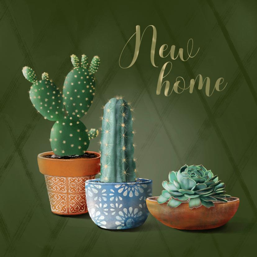 Verhuiskaarten - Verhuiskaart new home cactussen en succulent