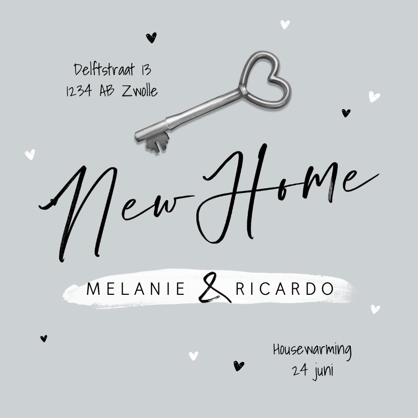 Verhuiskaarten - Verhuiskaart new home foto sleutel hartjes samenwonen