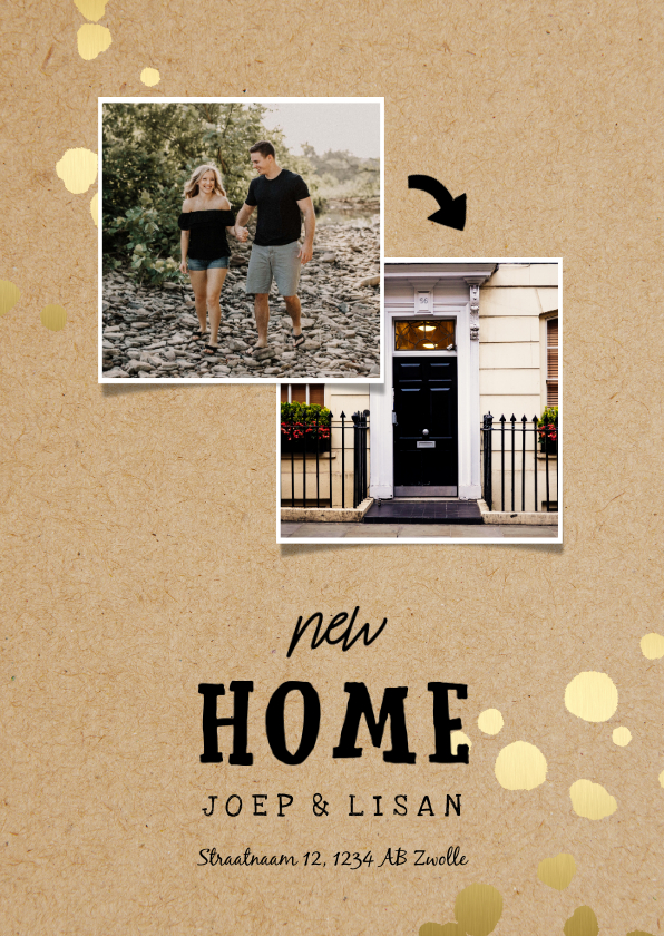 Verhuiskaarten - Verhuiskaart New Home kraft met gouden spetters