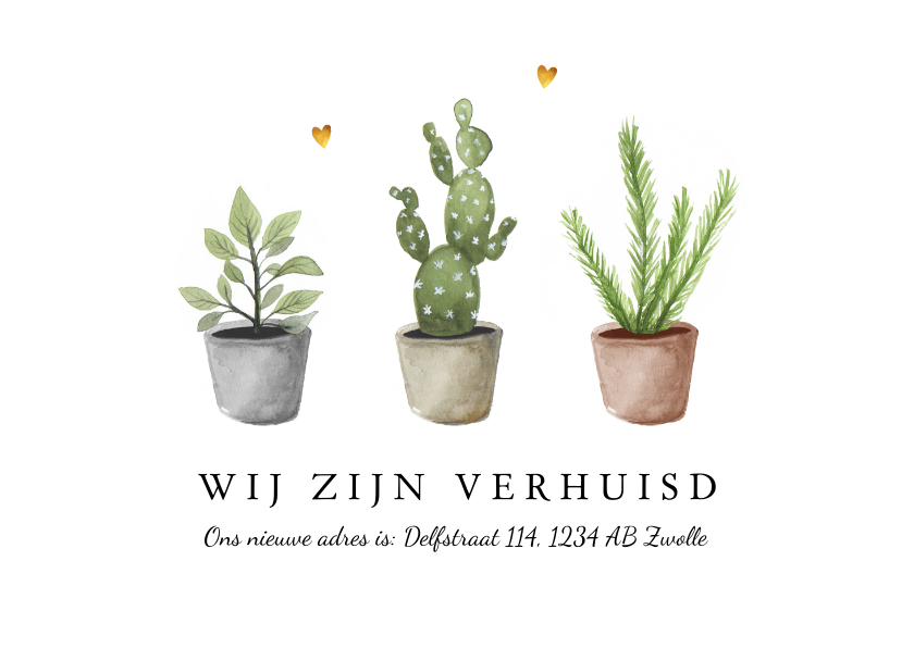 Verhuiskaarten - Verhuiskaart nieuw adres met plantjes en gouden hartjes