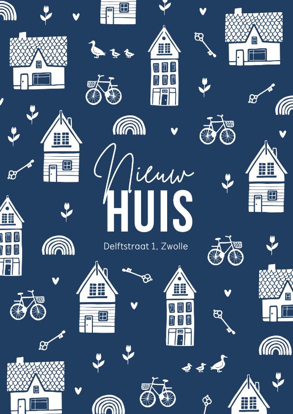 Verhuiskaarten - Verhuiskaart nieuw huis sleutel huis illustratie patroon