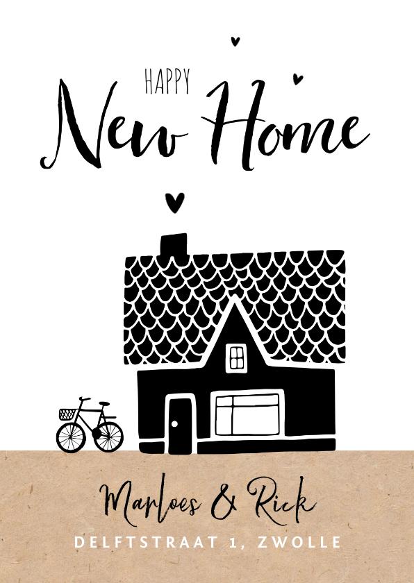 Verhuiskaarten - Verhuiskaart nieuwe woning huis kraft illustratie