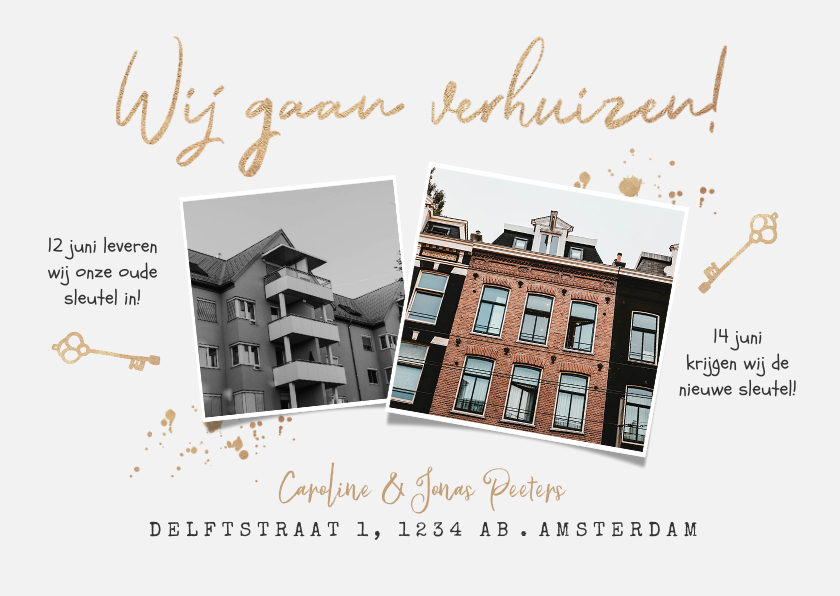Verhuiskaarten - Verhuiskaart oude en nieuwe huis sleutel goud verhuizen