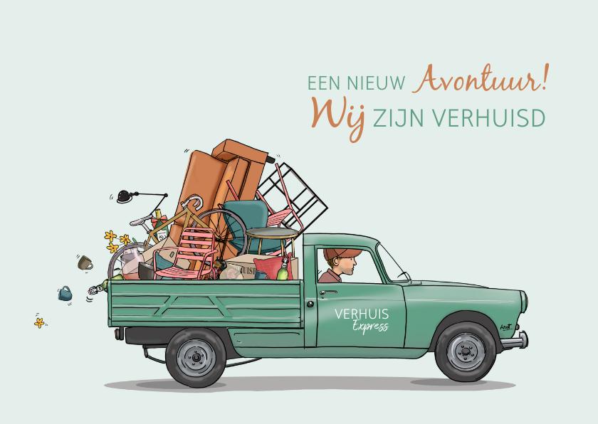 Verhuiskaarten - Verhuiskaart Peugeot 404 pick-up groen