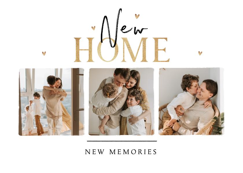Verhuiskaarten - Verhuiskaart stijlvol fotocollage hartjes memories new home