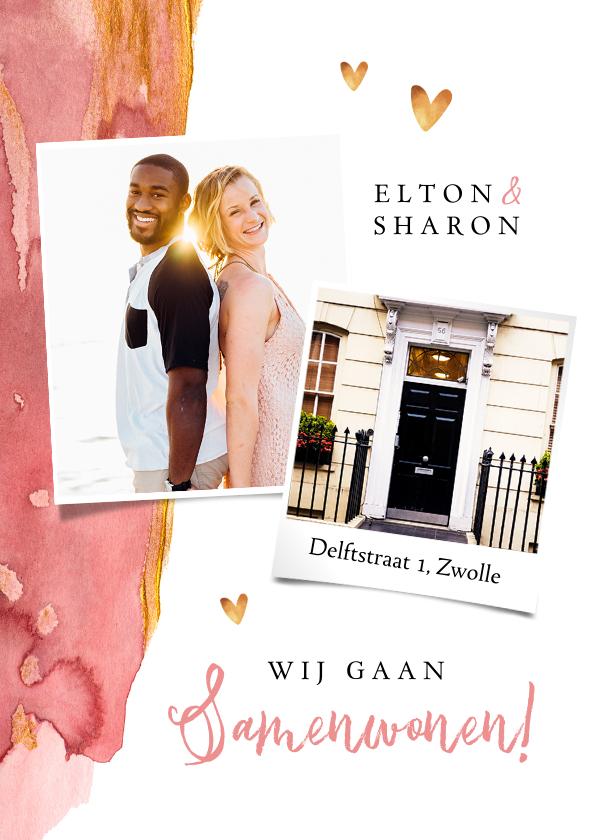 Verhuiskaarten - Verhuiskaart stijlvol roze verf goud hartjes foto's