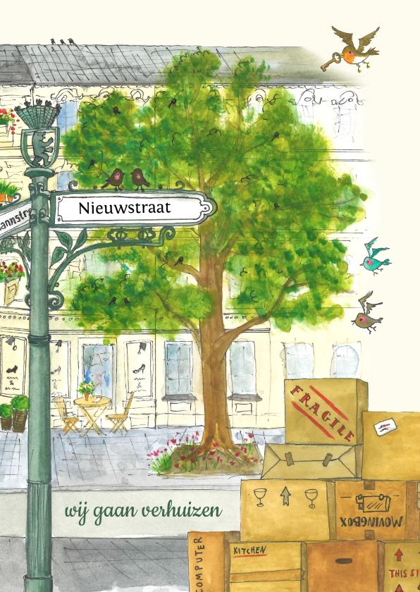 Verhuiskaarten - Verhuiskaart straatnaambordje en vogeltjes
