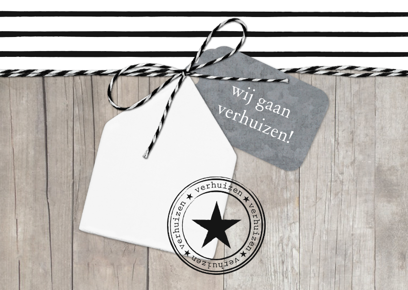 Verhuiskaarten - Verhuiskaart Strepen Hout Huisje Label L