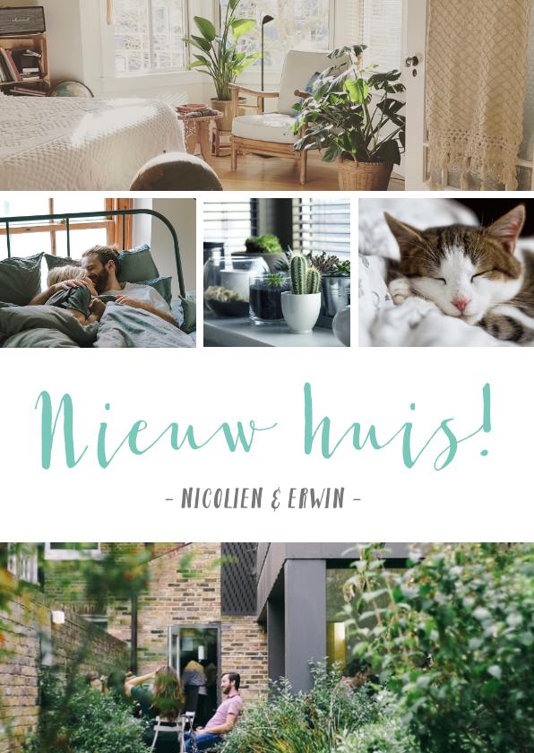 Verhuiskaarten - Verhuiskaart trendy fotocollage met 5 eigen foto's en tekst