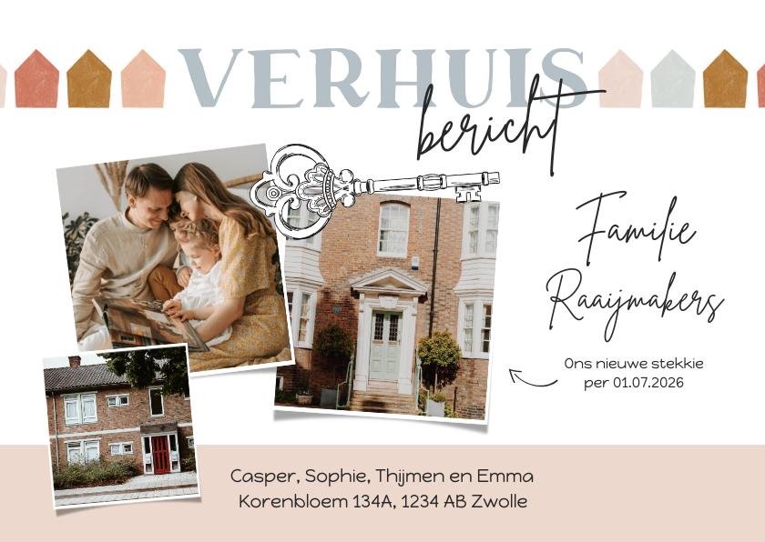 Verhuiskaarten - Verhuiskaart verhuisbericht met foto's en sleutel