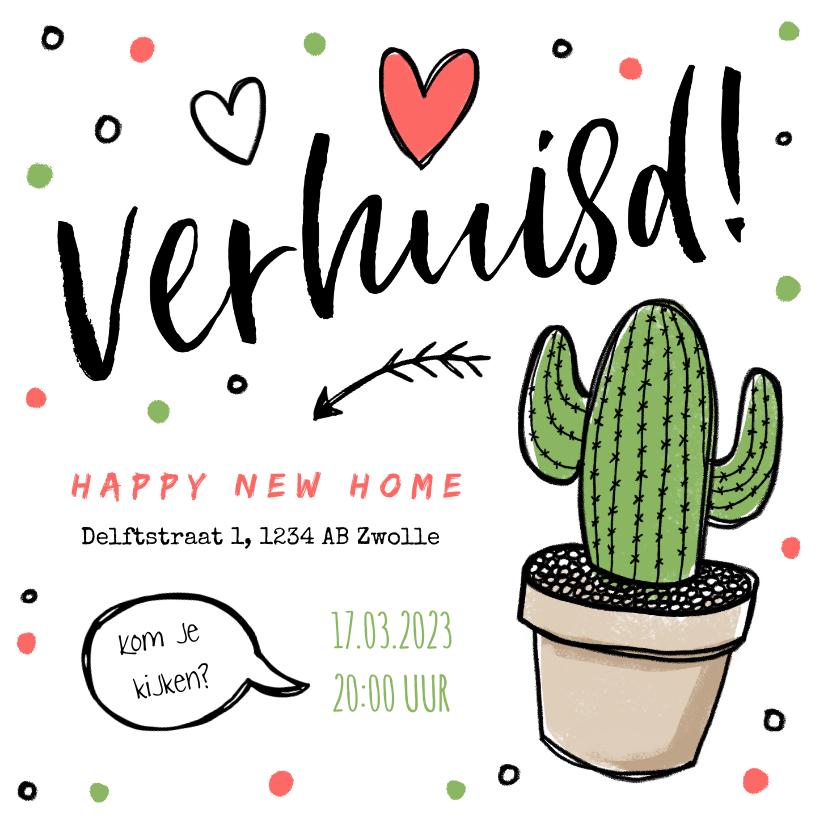 Verhuiskaarten - Verhuiskaart verhuisd tekening cactus hartjes confetti