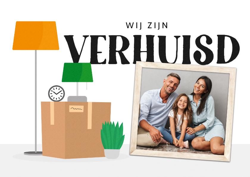 Verhuiskaarten - Verhuiskaart verhuisspullen foto plant dozen