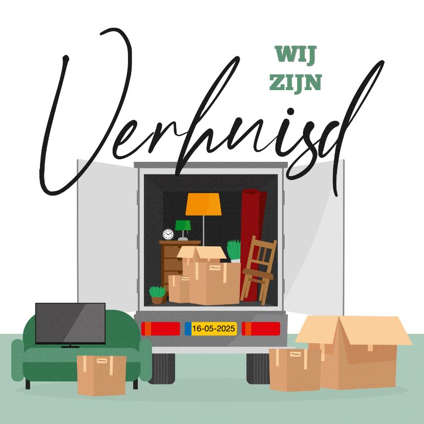 Verhuiskaarten - Verhuiskaart verhuiswagen verhuisd dozen spullen illustratie