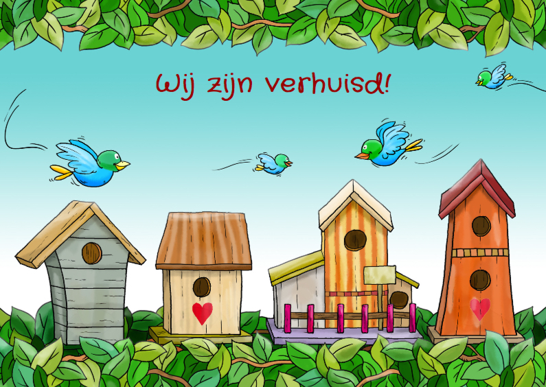 Verhuiskaarten - Verhuiskaart Vogels en Huisjes