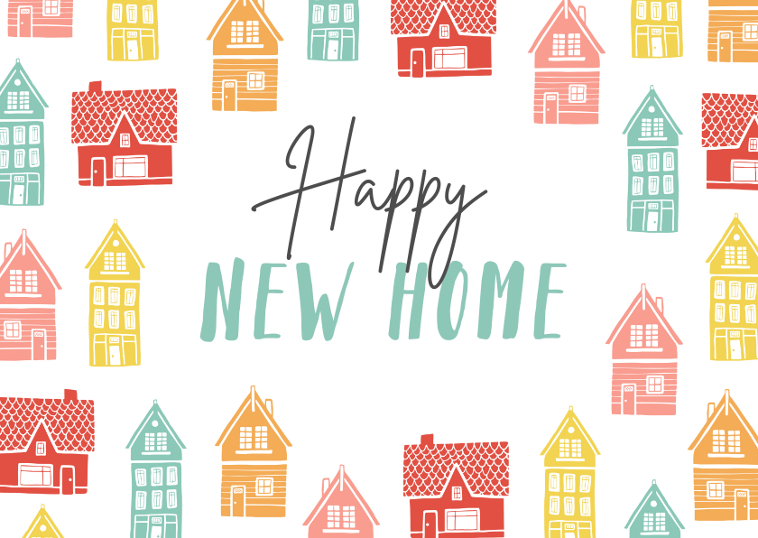 Verhuiskaarten - Verhuiskaart vrolijk kleurrijk huisjes new home