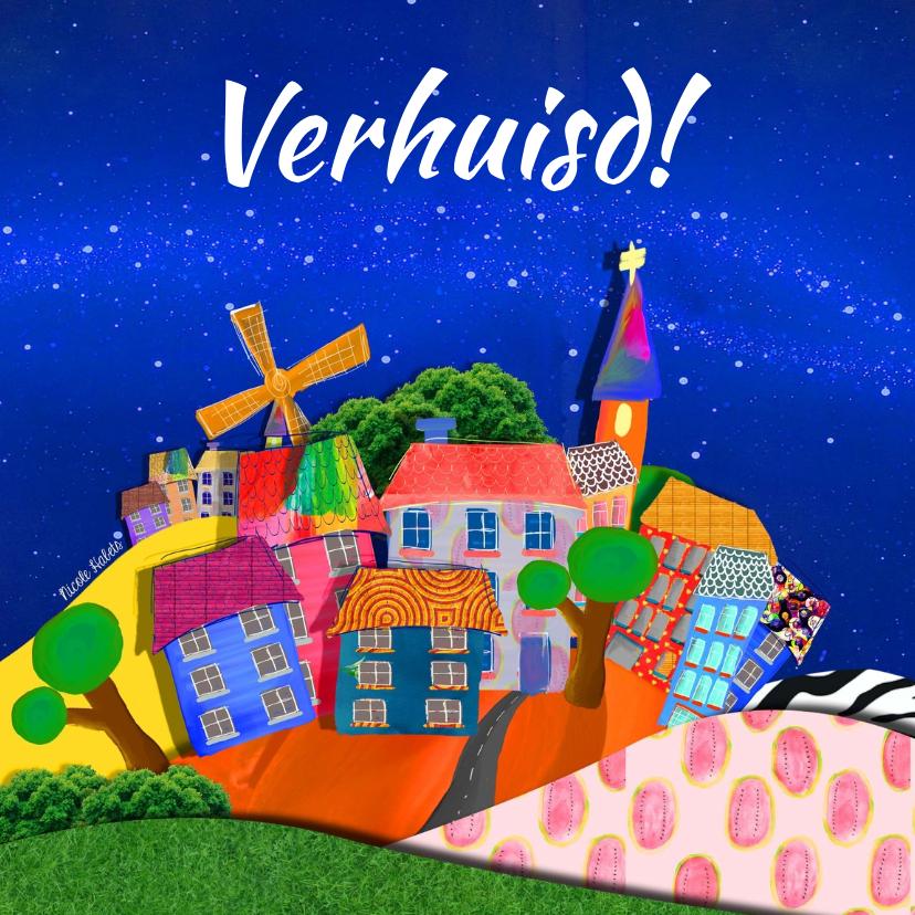 Verhuiskaarten - Verhuiskaart vrolijke huizen