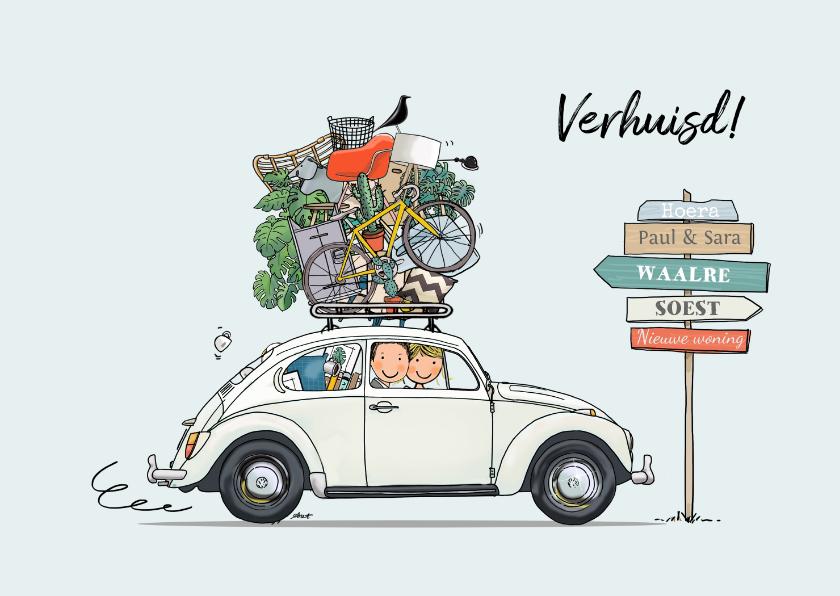Verhuiskaarten - Verhuiskaart VW kever grijs