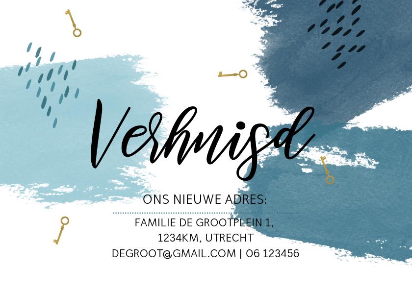 Verhuiskaarten - Verhuiskaart watercolor blauw strepen