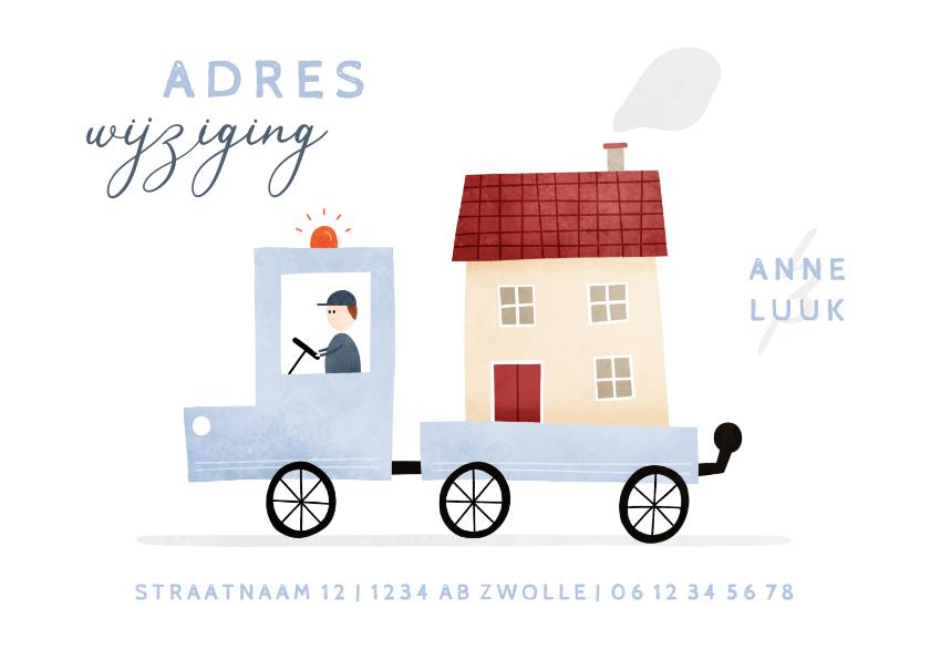 Verhuiskaarten - Verhuiskaartje adreswijziging busje met huis