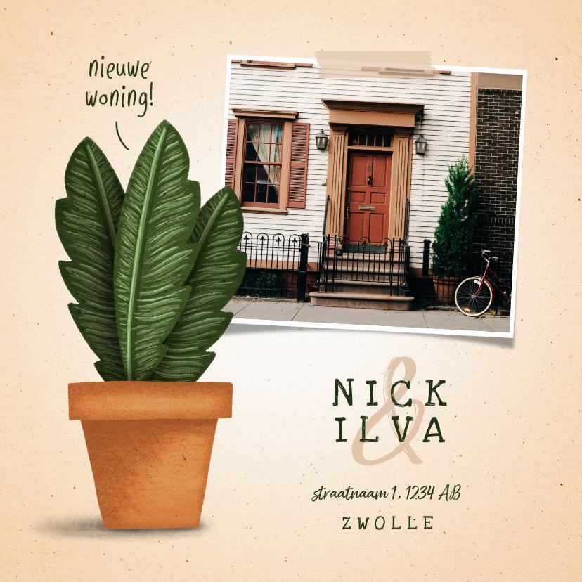 Verhuiskaarten - Verhuiskaartje 'nieuwe woning' met plant in pot