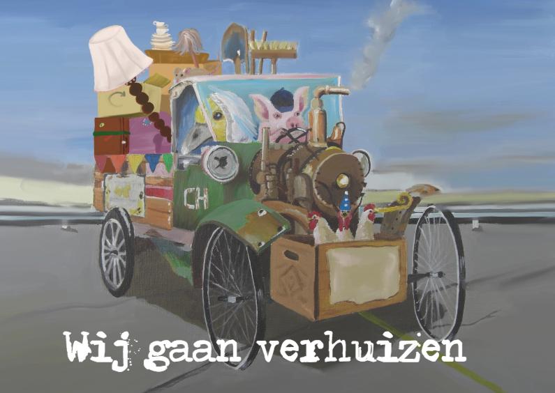 Verhuiskaarten - Verhuizen old car