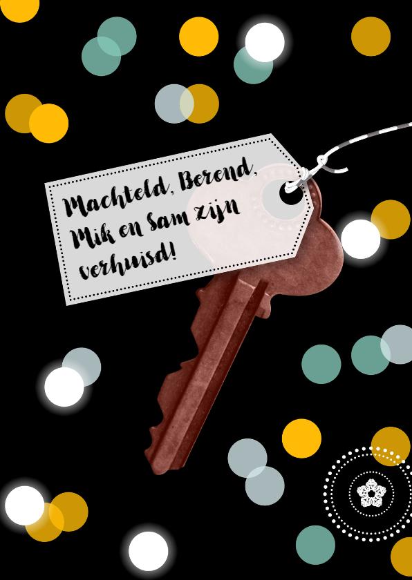 Verhuiskaarten - Verhuizing confetti sleutel eigen tekst