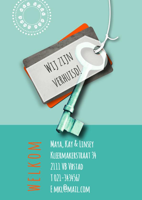 Verhuiskaarten - Verhuizing sleutel eigen tekst