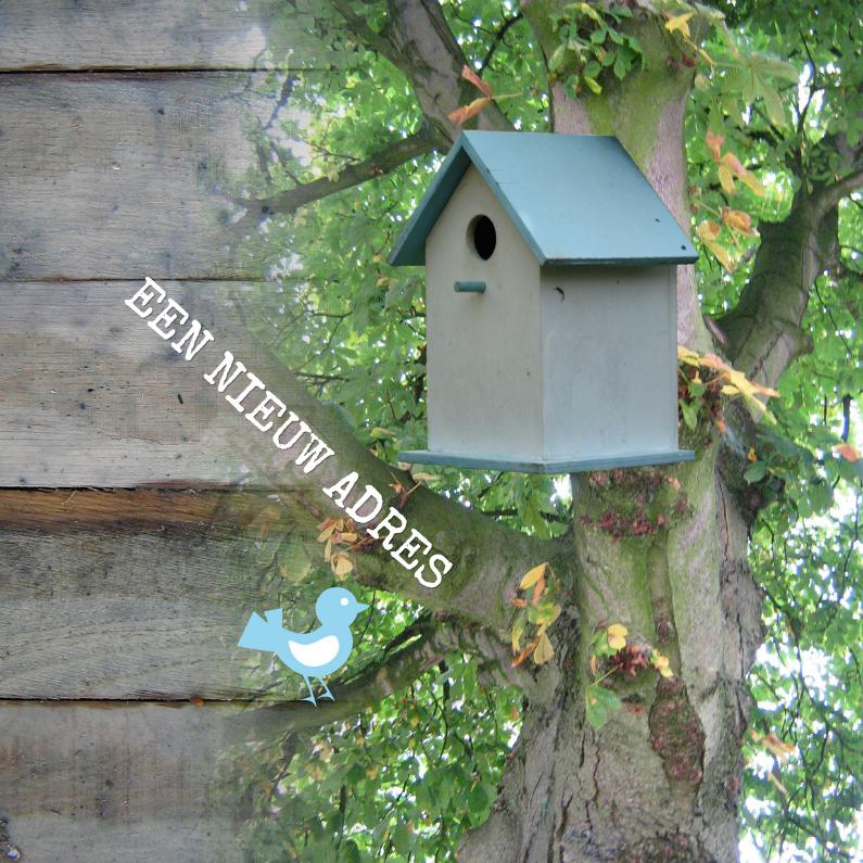 Verhuiskaarten - Vogelhuisje aan boom