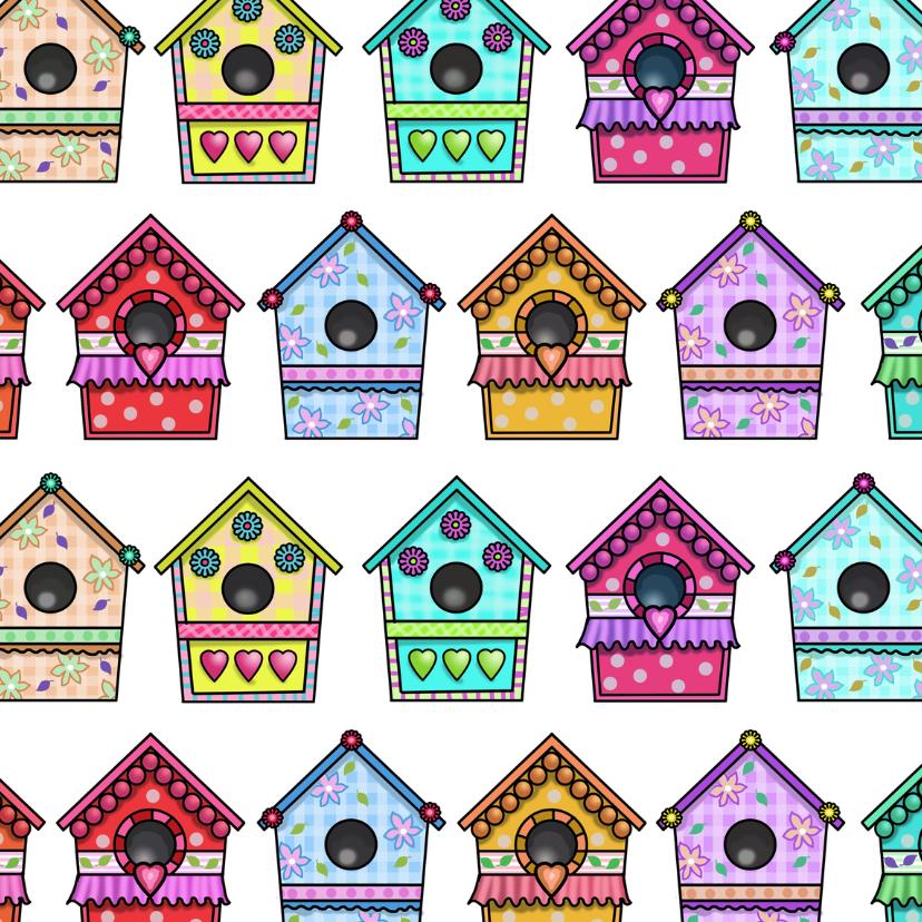 Verhuiskaarten - Vogelhuisjes kleuren vierkant