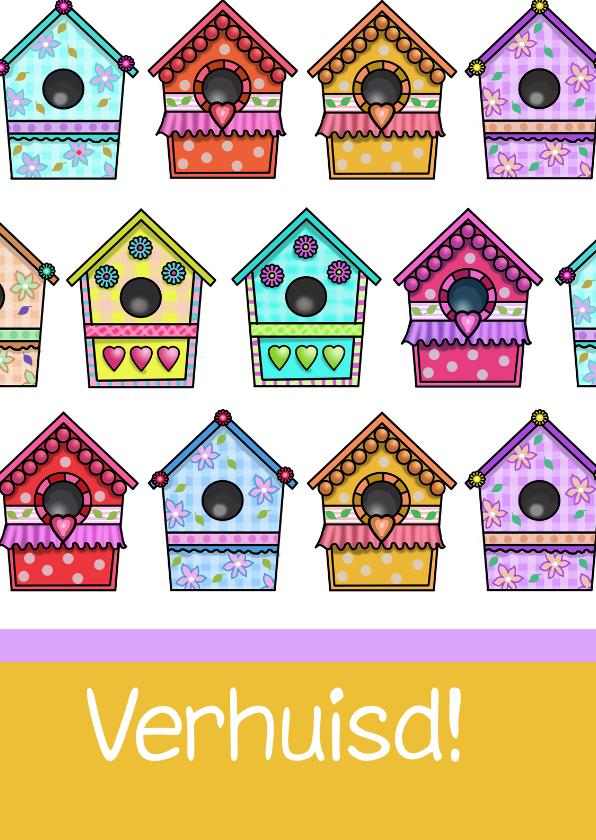 Verhuiskaarten - Vogelhuisjes kleuren