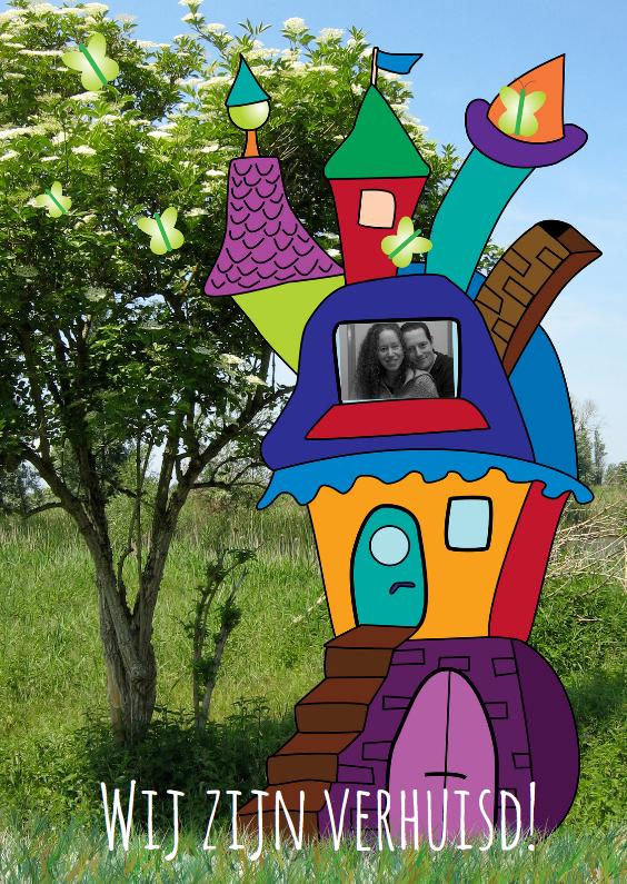 Verhuiskaarten - Vrolijk huis bij boom