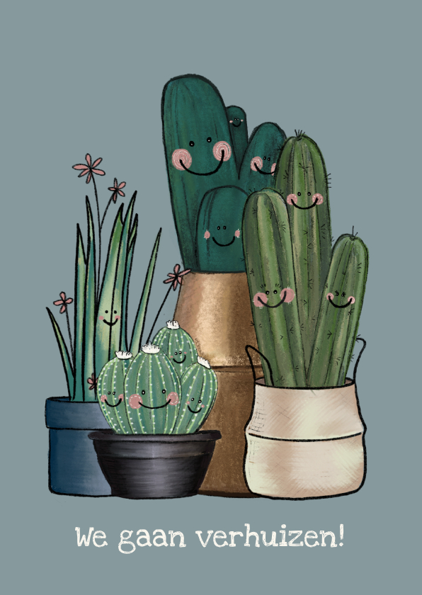 Verhuiskaarten - Vrolijke blauw-grijze verhuiskaart vol met cactussen