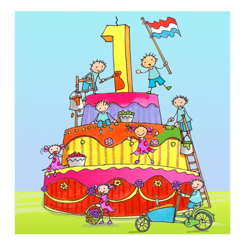 1 jaar anet illustraties verjaardagskaarten kaartje2go for Poppenhuis kind 2 jaar