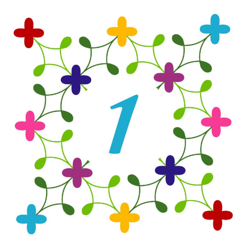 Verjaardagskaarten - 1 jaar bloemenkrans