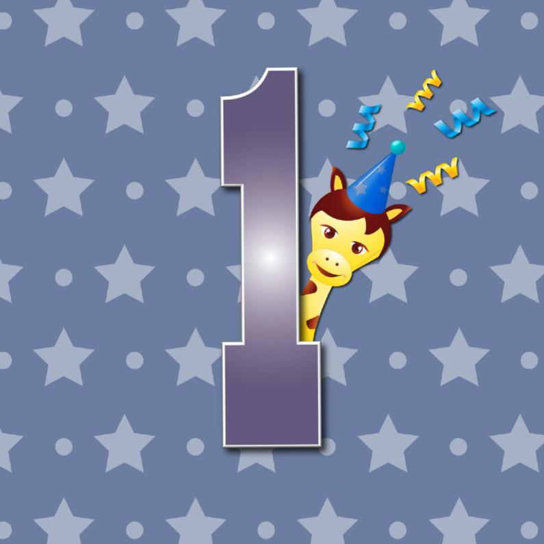 Verjaardagskaarten - 1 jaar girafje