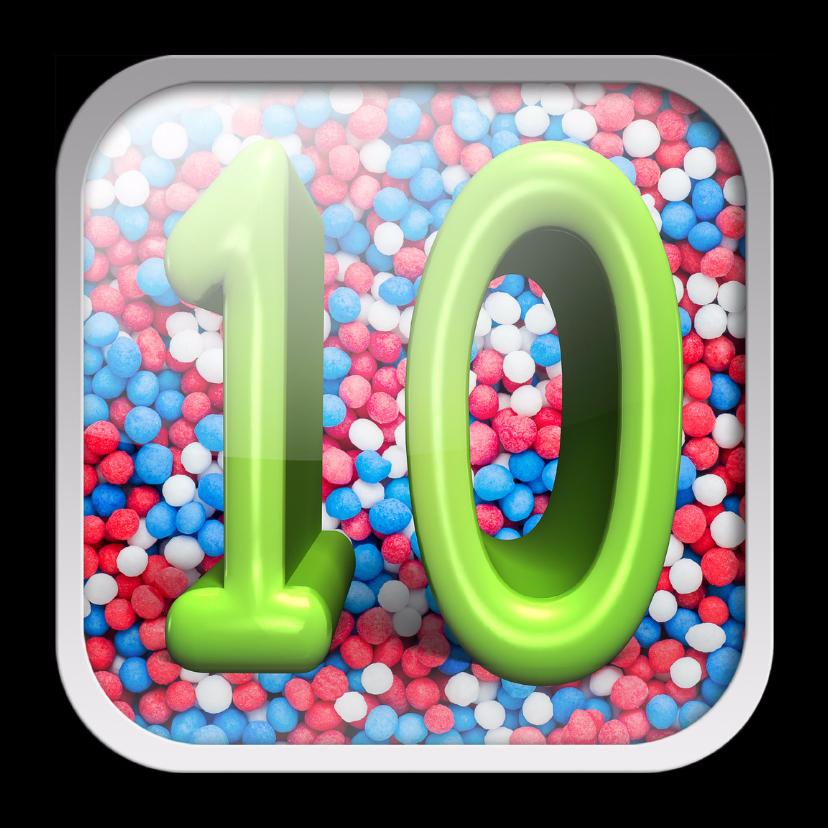Verjaardagskaarten - 10 jaar app met feestelijke achtergrond