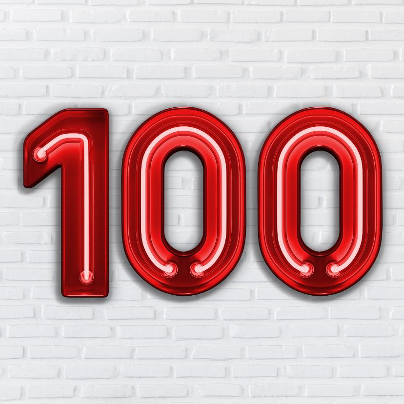 Verjaardagskaarten - 100 jaar in Stoere Industriële Neon Cijfers