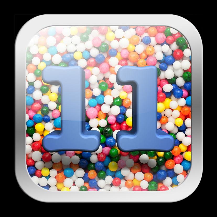 Verjaardagskaarten - 11 jaar app met feestelijke achtergrond