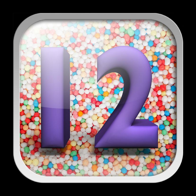 Verjaardagskaarten - 12 jaar app met feestelijke achtergrond